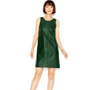 Bar III Evergreen Contrast Faux Leather Shift